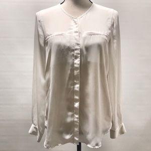 2/$15 White Semi Sheer V-Neck Long Sleeved Blouse